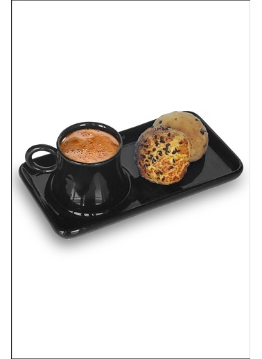 Kitchen Love Tek Kişilik Tepsili Seramik Kahve Fincanı -2Parça Siyah